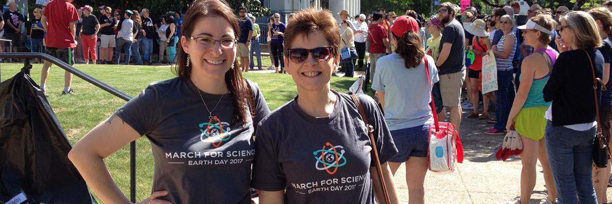 Michelle Momany and Abbie Courtney at the March for Science