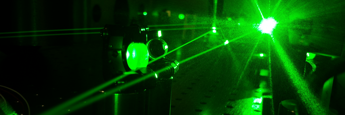 picture of ultrafast green laser with black background