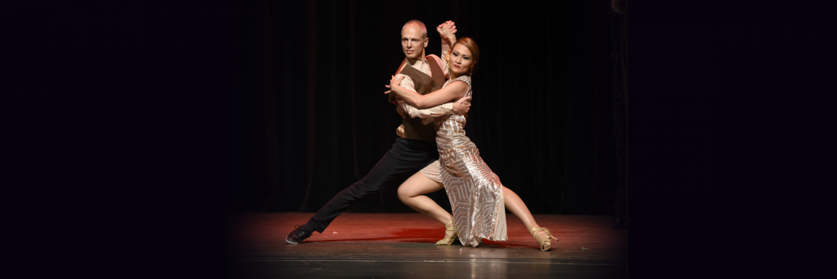 Fuad Elhage and Savie Arnold performing at the Dancing with the Athens Stars 2018